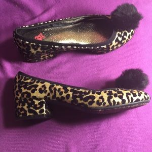 GB Girls Gold and black leopard print shoes